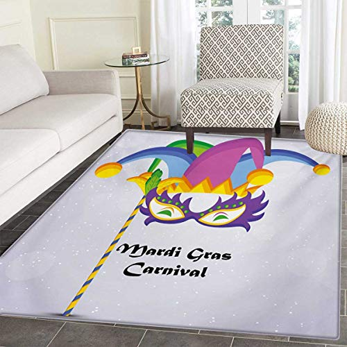 Mardi Gras Bath Mats Carpet Mardi Gras Carnival Inscription Traditional Party Icons Clown Costume Hat Floor Mat Pattern 55