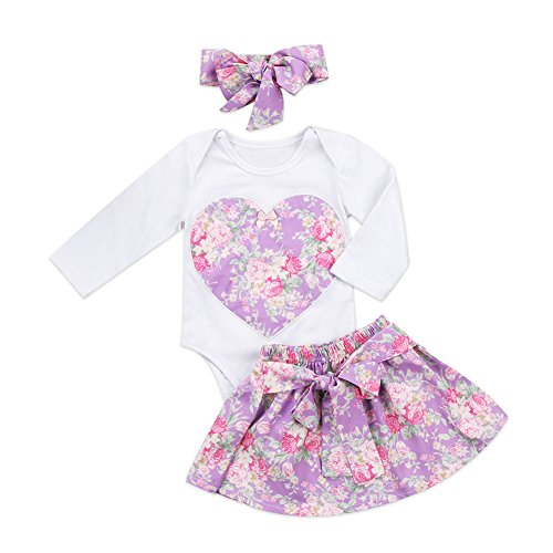 Caibiet Toddler Baby Girl Floral Long Sleeve Bodysuit Romper and Bowknot Skirt With Headband Infant 3Pcs Clothes SE (18-24 Months, (Long Sleeve Skirt)