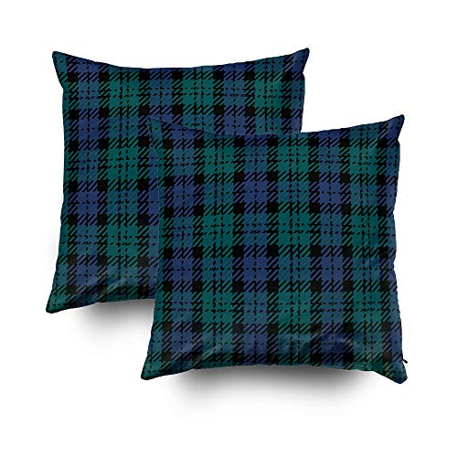 ROOLAYS Decorative Throw Square Pillow Case Cover 20X20Inch, Cotton Cushion Covers Christmas Black Watch Plaid Both Sides Printing Invisible Zipper Home Sofa Decor Sets 2 PCS ()