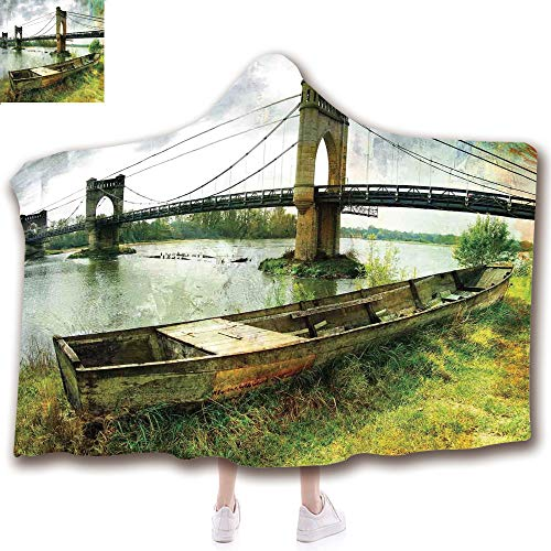 Fashion Blanket Ancient China Decorations Blanket Wearable Hooded Blanket,Unisex Swaddle Blankets for Babies Newborn by,Riverside Distressed Paint Style Nostalgic City,Adult Style Children Style ()