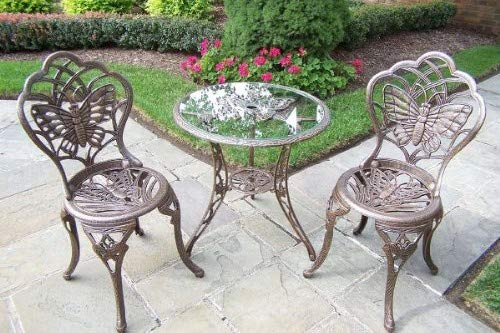 Oakland Living Butterfly Cast Aluminium 3 Piece Bistro Set-A
