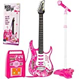 iMeshbean Electric Guitar Kit Toy Play Set with Microphone, Wireless Amp, AUX. Educative Beginner Musical Instrument Set for Children (Pink)