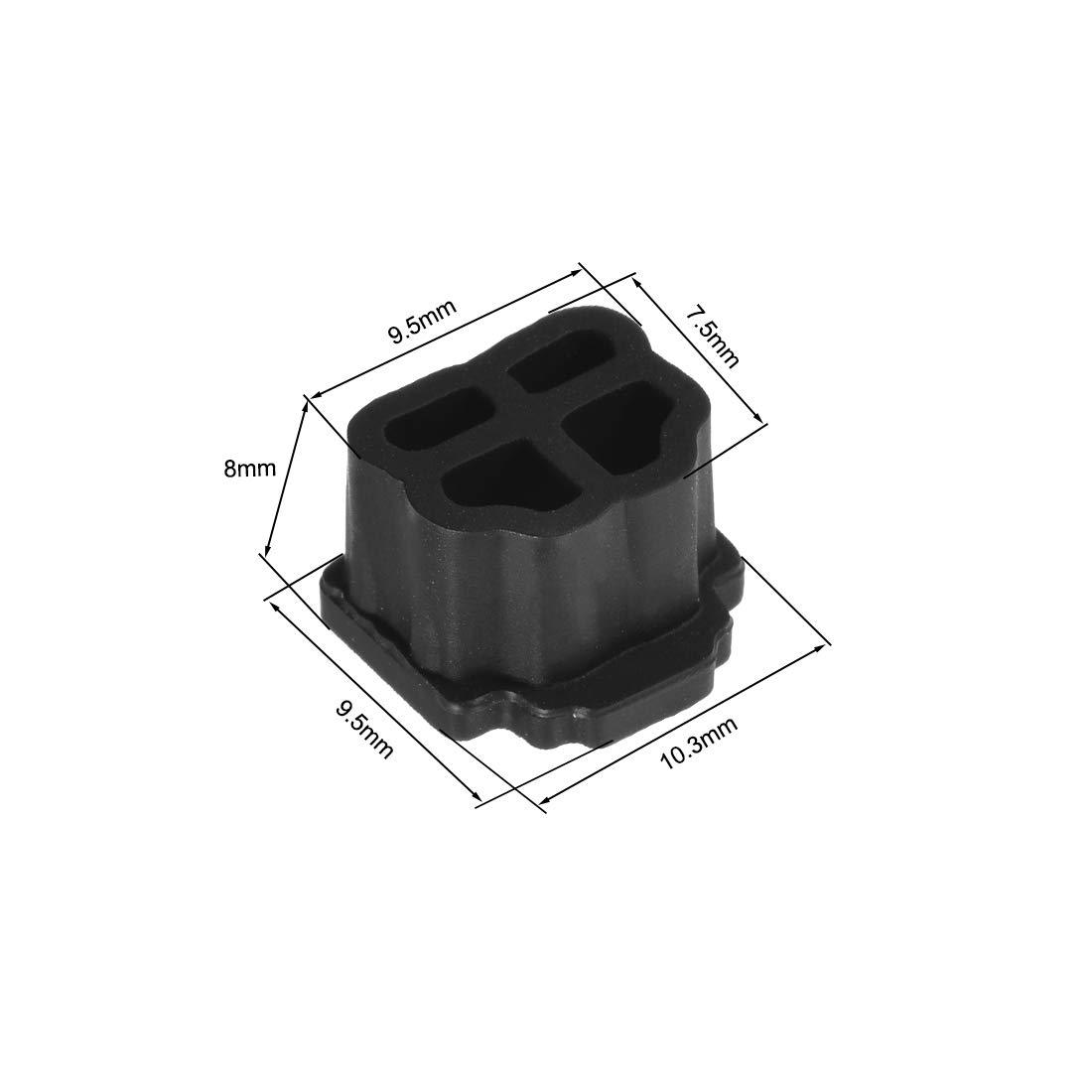 sourcing map Cubierta Protectora de tap/ón Anti-Polvo para Puerto Modular Telef/ónico RJ11 de Silicona Negro 10uds