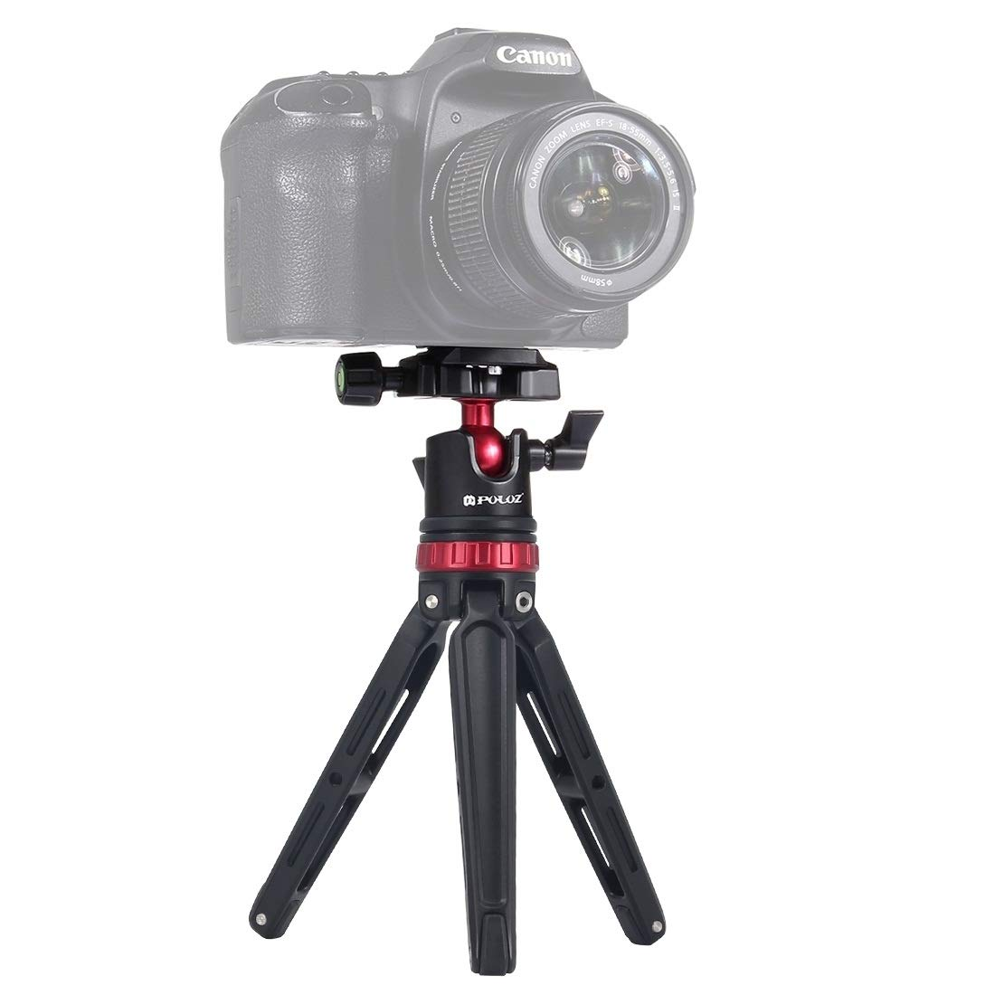 Camera Pocket Mini Adjustable Metal Desktop Tripod Mount with 360 Degree Ball Head for DSLR & Digital Cameras, Adjustable Height: 11-20.2cm(Red) Lighweight and Portable (Color : Red) by JUNXI