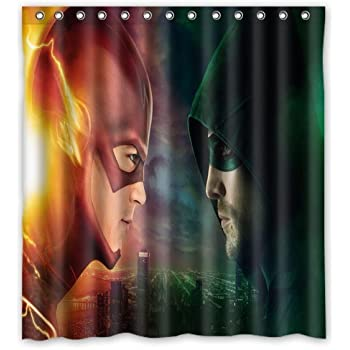 ScottShop Custom Best The Flash And Green Arrow Shower Curtain Decoration Waterproof Polyester Fabric Bathroom