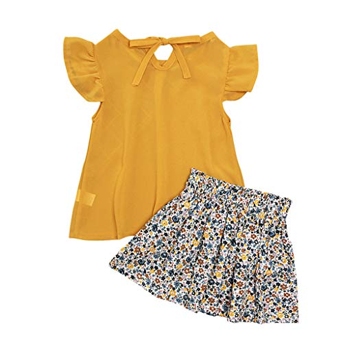 (MOGOV Toddler Kids Baby Girls Summer Solid Ruffled Tops Bow +Floral Skirt 2PC Outfits Sets Yellow)