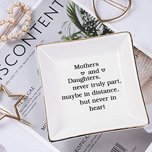 Ueerdand Ceramic Ring Dish Decorative Trinket Plate Gift Jewelry Tray for Mothers Day (Mothers and Daughters) (For The Best Mom)