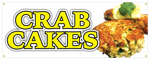 - Crab Cake Banner Fresh Hot Lump Krab Seafood Concession Stand Sign 24x72