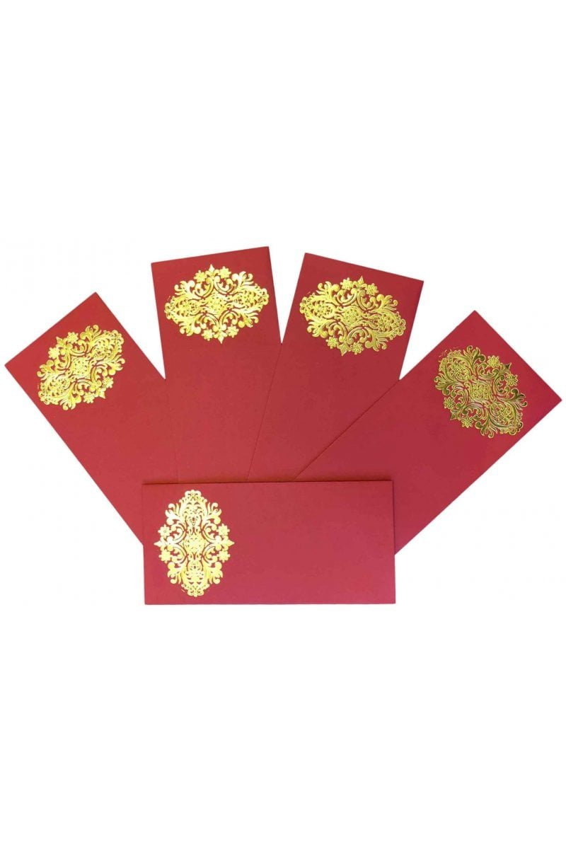 ENV144 Pack of 10 Red and Gold Paisley Patch money gift envelopes Indian Shagun Gift Designer Invitation Red Krishna Sarees