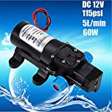 Automatic Self Priming Water Pump - 12V 115Psi High Pressure Diaphragm Self Priming Water Pump 5L/min 60W Agricultural Purposes for Car Washing Garden