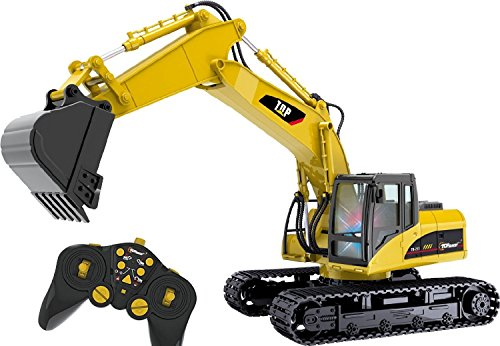 7 Excavator (Top Race® 15 Channel Full Functional Professional RC Excavator, Remote Control Construction Tractor ~Metal Shovel~)