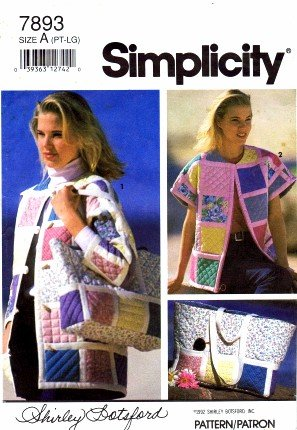 Simplicity 7893 Sewing Pattern Misses Quilted Jacket Bolero Vest Tote Bag Size 6 - (Bolero Sewing Pattern)