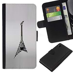 KLONGSHOP // Tirón de la caja Cartera de cuero con ranuras para tarjetas - Roca Heavy Metal Art Dibujo - Sony Xperia Z2 D6502 //