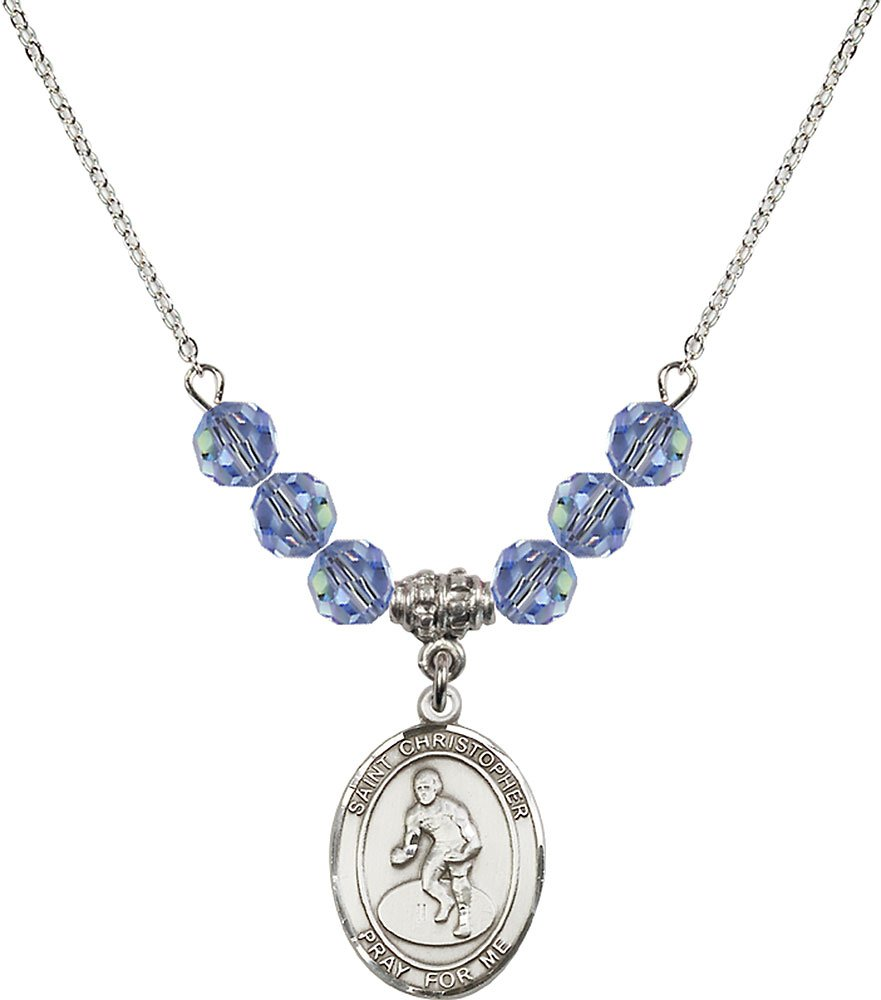 Rhodium Plated Necklace with 6mm Light Sapphire Birthstone Beads & Saint Christopher/Wrestling Charm.