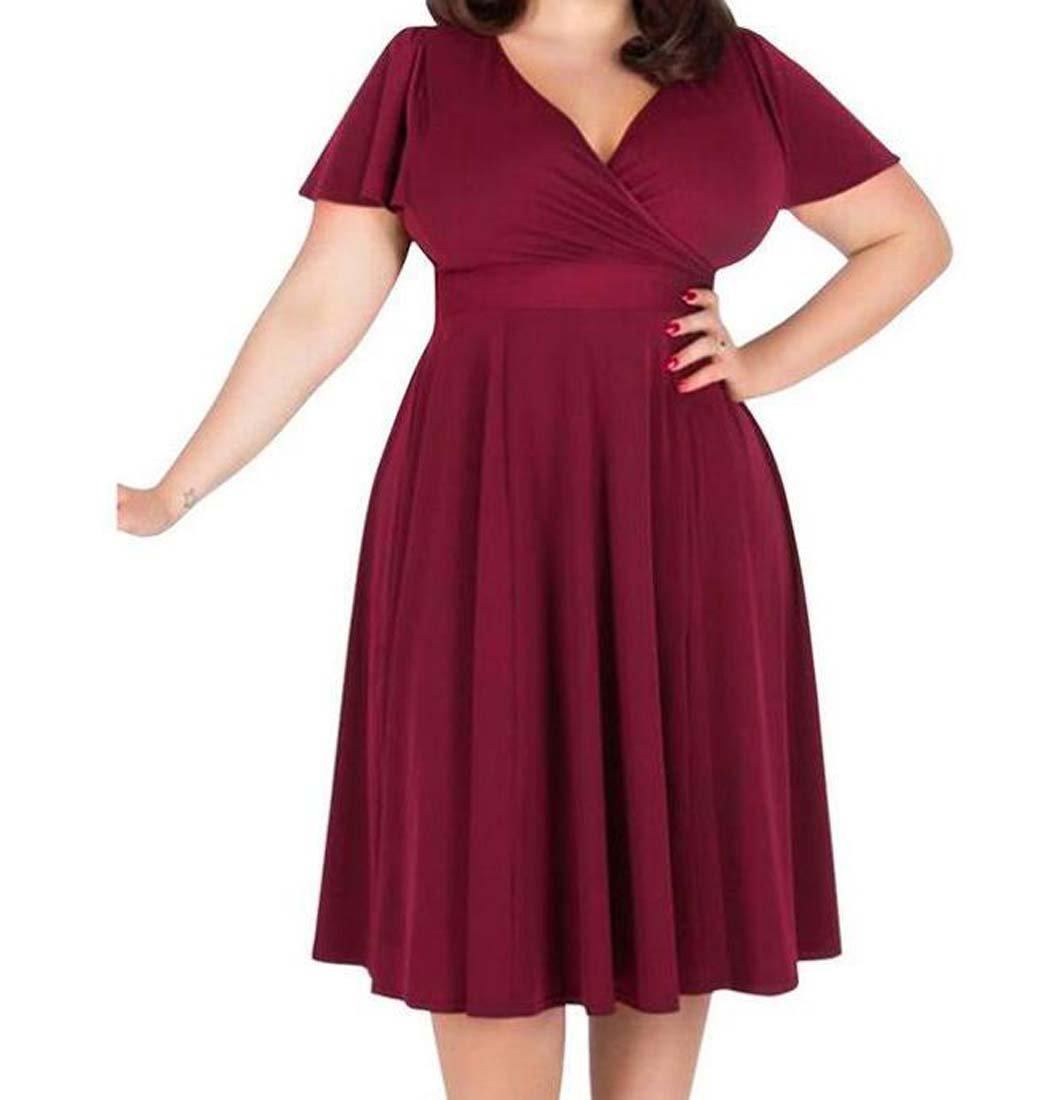GAOYUN Vestido de Gran tamaño de la Falda de Las Mujeres gordas mm otoño Vestido de Manga Corta con Cuello en V de Color sólido Suelto (Color : Rojo, ...