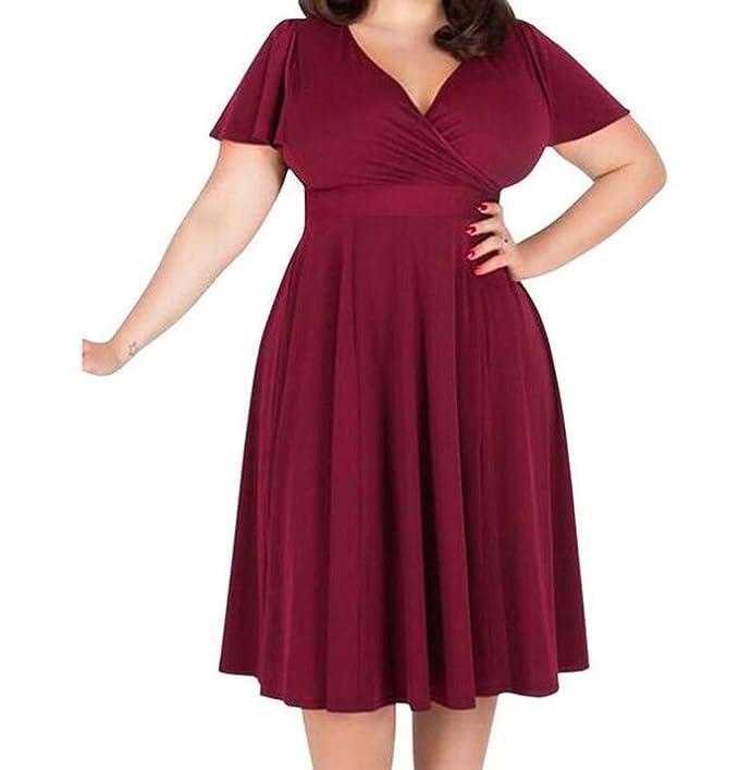 Vestido de gran tamaño de la falda de las mujeres gordas mm otoño nuevo vestido de manga corta con cuello en V de color sólido suelto (Color : Rojo ...