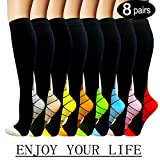 Iseasoo 7 Pack Copper Knee High Compression Socks for Men & Women-Best for Running,Athletic,Medical,Pregnancy and Travel -15-20mmHg (S/M, 8 Pairs Multicoloured 2)