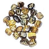Crocon 25 Pcs Tiger Eye Rune Stones Set Reiki Healing Engraved Gemstone Kit Energy Generator for Chakra Balancing Aura Cleansing & EMF Protection Size 15-20 mm