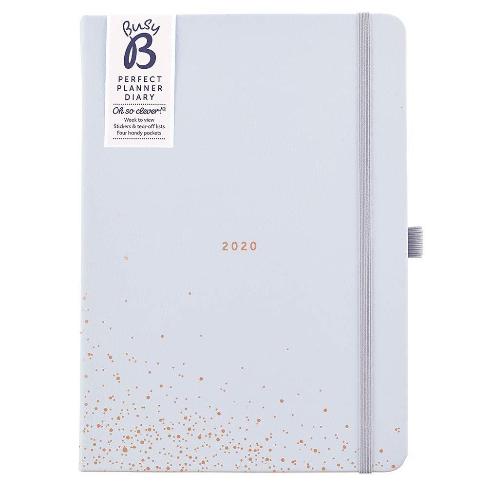 Agenda planificador perfecto 2020 Busy B - planificador A5 en piel sintética azul, con pegatinas y listas para arrancar