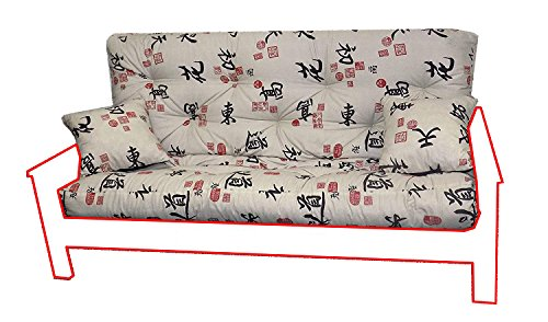 Memory Foam Futon Mattress Asian Print Upholstery Fabric Factory Direct Full/Queen (Full, Angela)