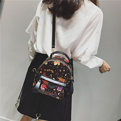 Noir Mini en à sac Femme à à Sac Imprimé Mini Bandoulière Sac PU Mode Dos Cuir YouPuer Loisir Dos BXwqI