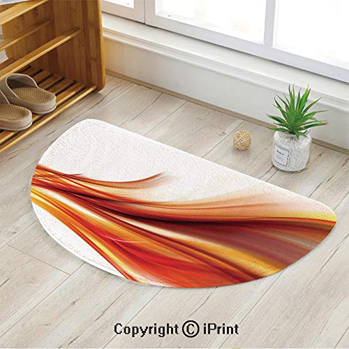 LEFEDZYLJHGO Customized Half Moon Rug for Bathroom Half Circle Rug,Modern Contemporary Abstract Smooth Lines Blurred Smock Art Flowing Rays Decorative,39