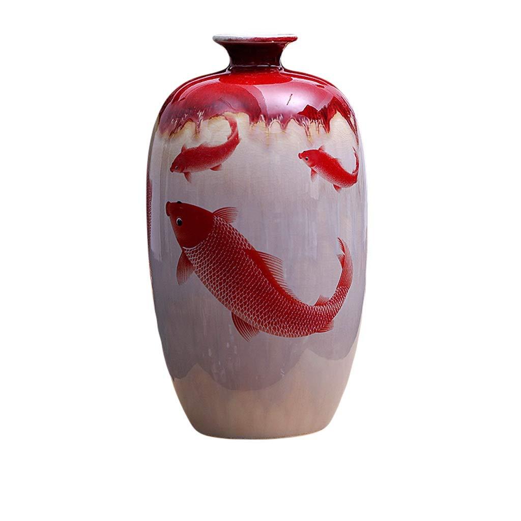 LIULIJUN 花瓶セラミックスアンティークキルンアイシング亀裂釉ザクロ花瓶フラワーアレンジメント新しい中国古典家の装飾 (Size : M) B07T6DYPKY  Medium