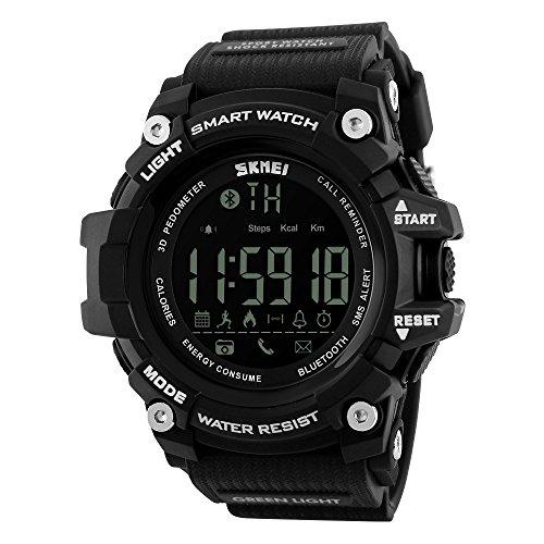 tifunctional Digital Sport Watch with Bluetooth Pedometer, 5ATM waterproof,Black ()