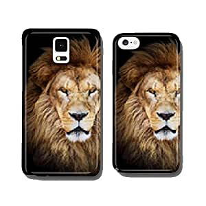 Portrait of huge beautiful male African lion against black backg cell phone cover case Samsung S6