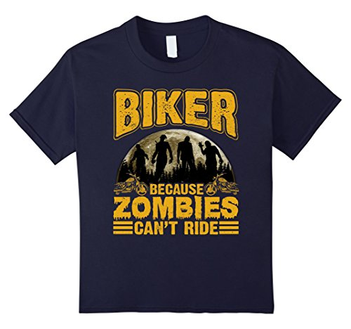Zombie Cyclist Costume (Kids Biker Because Zombies Can't Ride Funny Halloween T-Shirt 12 Navy)