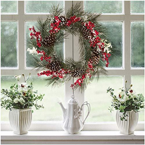Glitzhome Artificial Wreath - 24 Inch Pinecone & Berry Wreath for Front Door Indoor Wall Dcor Outdoor Wedding Centerpiece Xmas Fall Festival Celebration Welcome Decorations