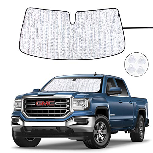 ROCCS Windshield Sunshade UV Ray Reflector for 2014-2018 GMC Sierra 1500 2500 HD 3500 HD Front Window Sun Shade Shield Cover Foldable Reflective Sun - Windshield 2500 Truck