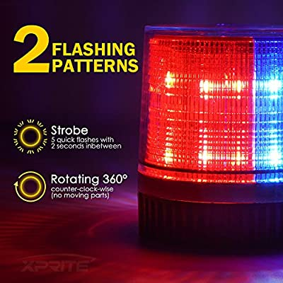 Xprite Red & Blue 12 LEDs Rotating Beacon Strobe Light w/Magnetic Mount, Revolving Warning Police Light for Emergency Caution Vehicle, Snowplow, Patrol Cars, Truck UTV: Automotive
