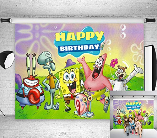 TJ Cartoon Animation Spongebob Patrick Star Photography Backdrops Happy Birthday Theme Party Decor Background Children Photo Booth Studio Props 7X5FT Vinyl]()