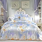 L&M Silk Four sets Mulberry silk Double-sided tian silk Jacquard Tribute satin Silk Stitching Piping Invisible Zipper Bed linings , Silver , 200230cm
