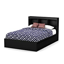 South Shore Furniture Step One Full Size Mates Bed with Drawers and Bookcase Headboard 54-Inch Set, Pure Black
