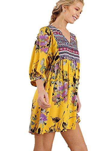 Umgee Women's Bohemian Tunic or Dress (S, Gold - Mandy Sandal