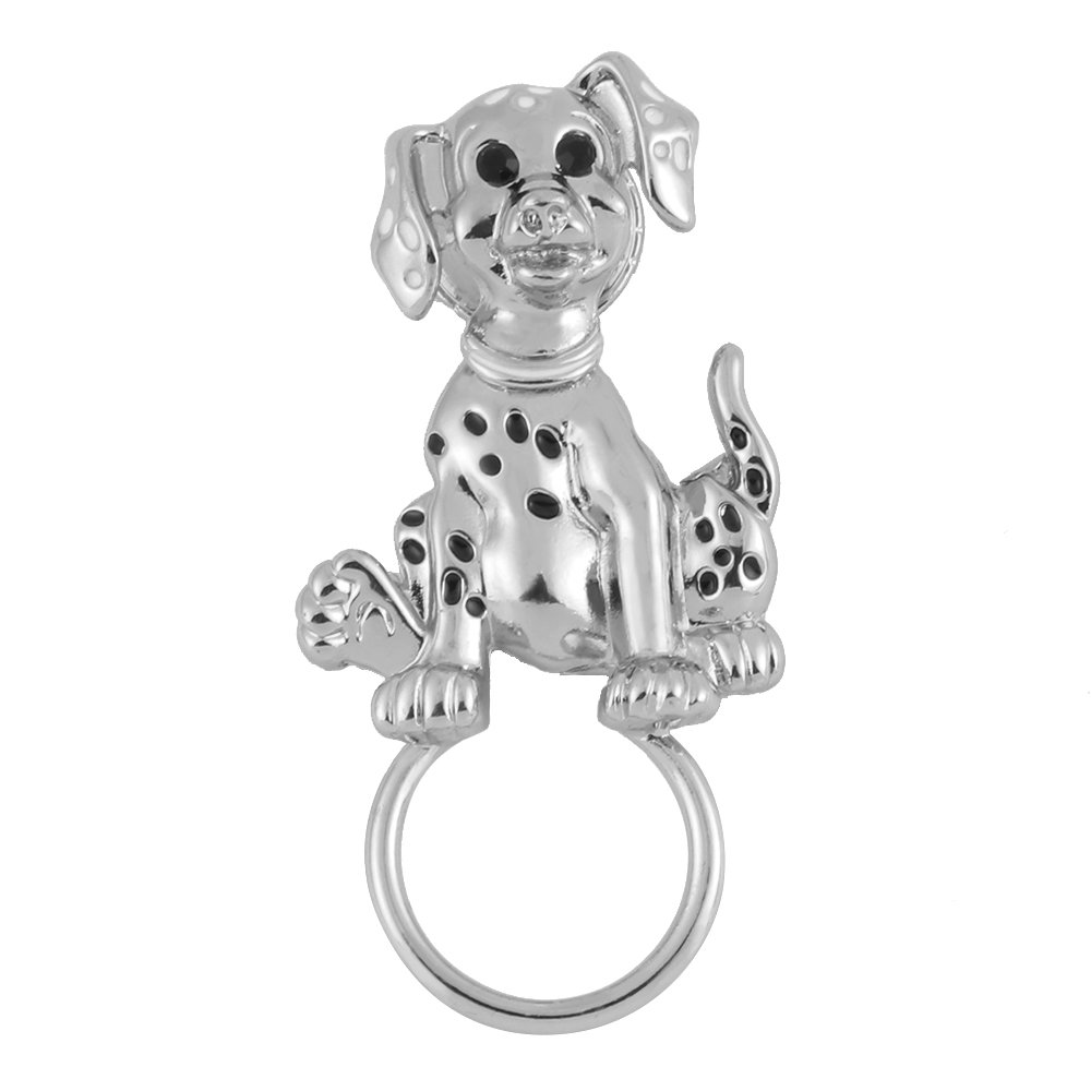 TUSHUO Pet Spotted Dog Sitting on The Ground Accompanied by Glazed Enamel Points and Black Diamonds Super Cute Magnetic Eyeglass Holder(Sliver) by TUSHUO