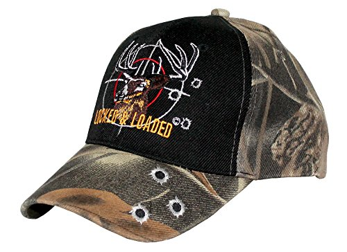 Hunting Style Woodland Army Green Camouflage Baseball Hat Cap with Embroidered Deer at Gunpoint, Locked & Loaded Lettering and Bullet Holes (Army Green Camouflage/Black Front) ()