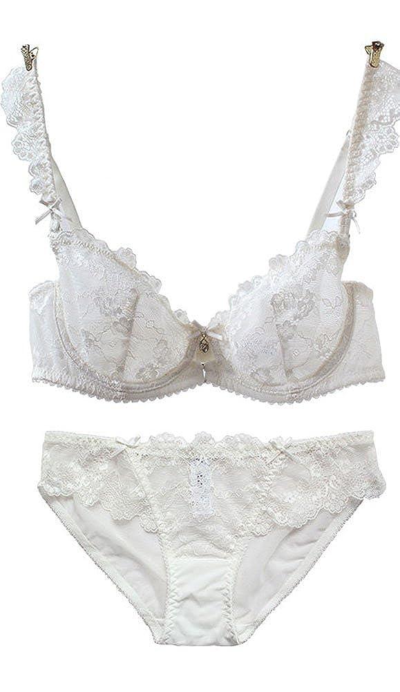 8ca7bf4a953 Amazon.com  Zukzi Womens Sexy Lace Thin Bra Sets Matching Bra and Panty Sets   Clothing