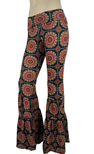 Sugar Rock Women Paisley Palazzo Pants Fold-Over Waist Wide Leg & Laundry Washing Bag