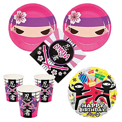 - Pink Ninja Girl Party Supplies 16 guests - cake plates, napkins, cups, bonus balloon