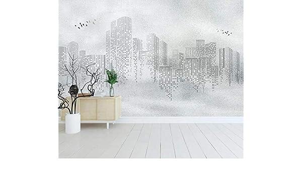 Papel Pintado 3D Resumen Ciudad Edificio Blanco Y Negro ...