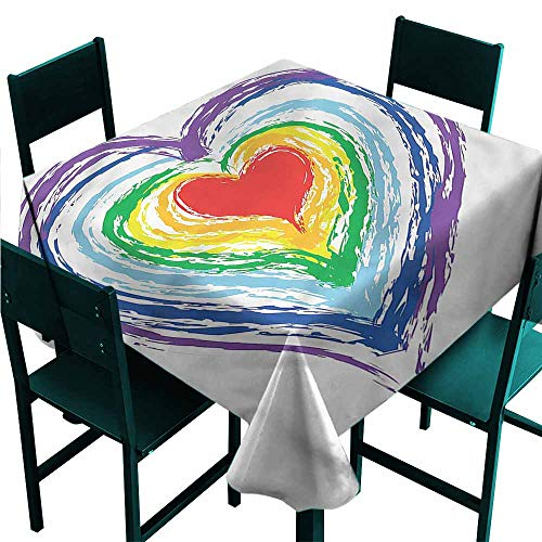 (DONEECKL Easy Care Tablecloth Doodle Nested Rainbow Heart for Kitchen Dinning Tabletop Decoration W63)