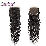 Bestlove Hair Brazilian Human Hair Closure Water Wave 4x4 Free Part Lace Closure 8 Inch Virgin Human Hair Closure 130% Density. (8 Inch)