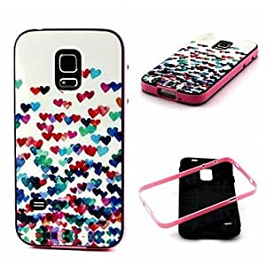 ZXC 2-in-1 Many Colorful Heart Pattern TPU Back Cover with PC Bumper Shockproof Soft Case for Samsung S5 I9600