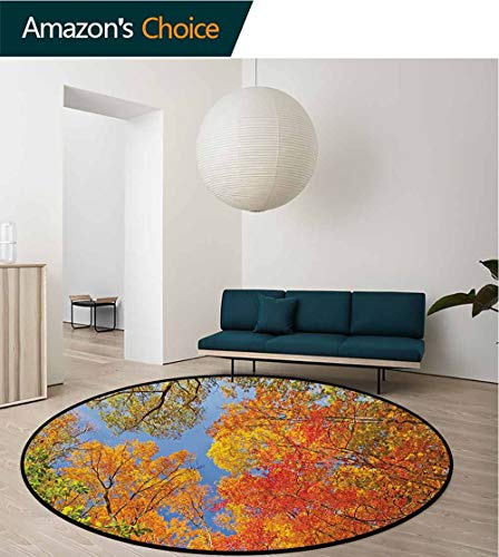 RUGSMAT Leaves Round Kids Rugs,Falls Colors National Country Park Nature Observation Base Perspective Photo Learning Carpet Non Skid Nursery Kids Area Rug for Playroom,Diameter-71 ()
