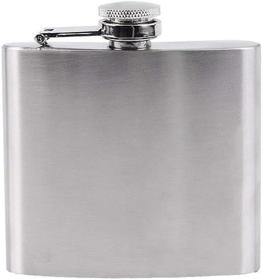 COLOR: plata 5 oz Acero inoxidable Frasco de cadera Licor Whisky Alcohol Cap Embudo Drinkware Para bebedor Vino Accesorios para senderismo Viajes Caza