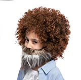 Spooktacular Creations Brown Afro Wig and Beard for