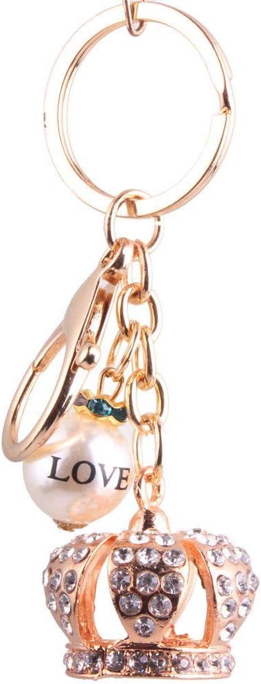 Llavero Metal Crown Key Cute Beads Sra. Bolsos Accesorios King Crown Accesorios Día de San Valentín Novias Regalos Día de San Valentín Hermanas Regalos de cumpleaños Crystal Rhinestone Keyring, bolso